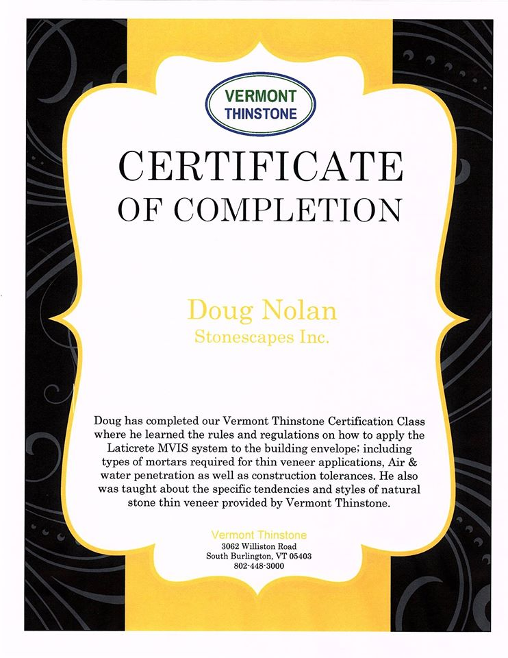 vermont thinstone certificate